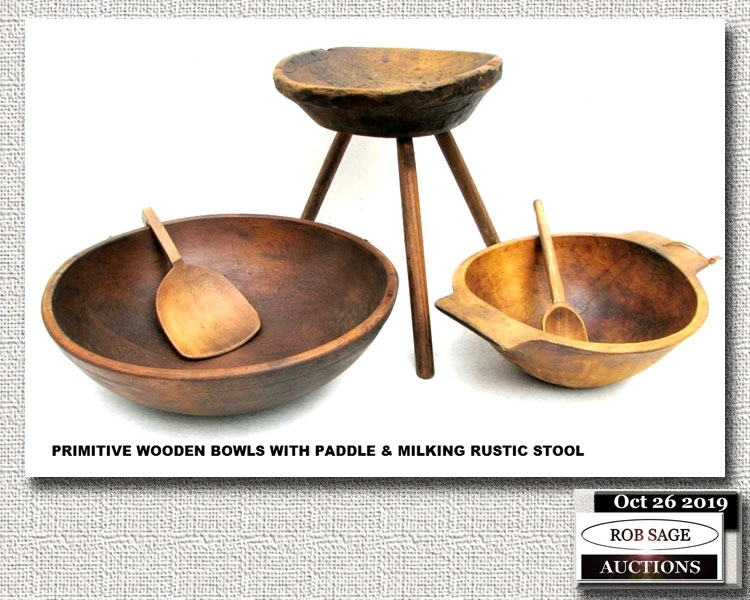 Wooden Bowls & Stool