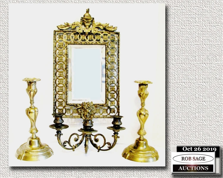 Wall Mirror & Candlesticks