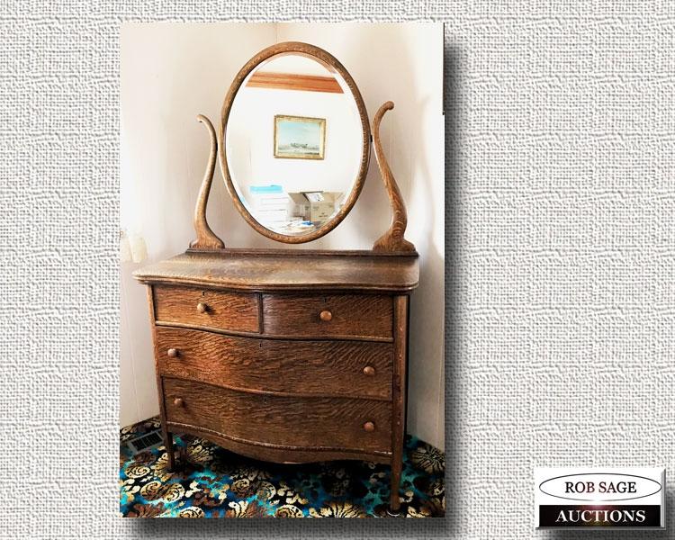 Oak Dresser/Mirror
