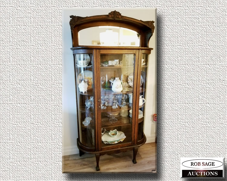 Bow Front Oak China Cabinet