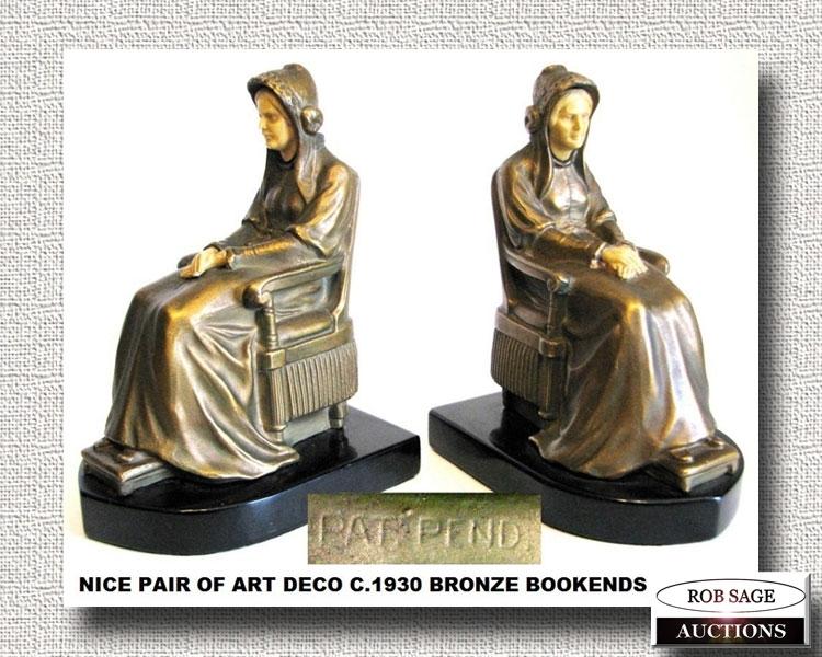 Deco Bronze Bookends
