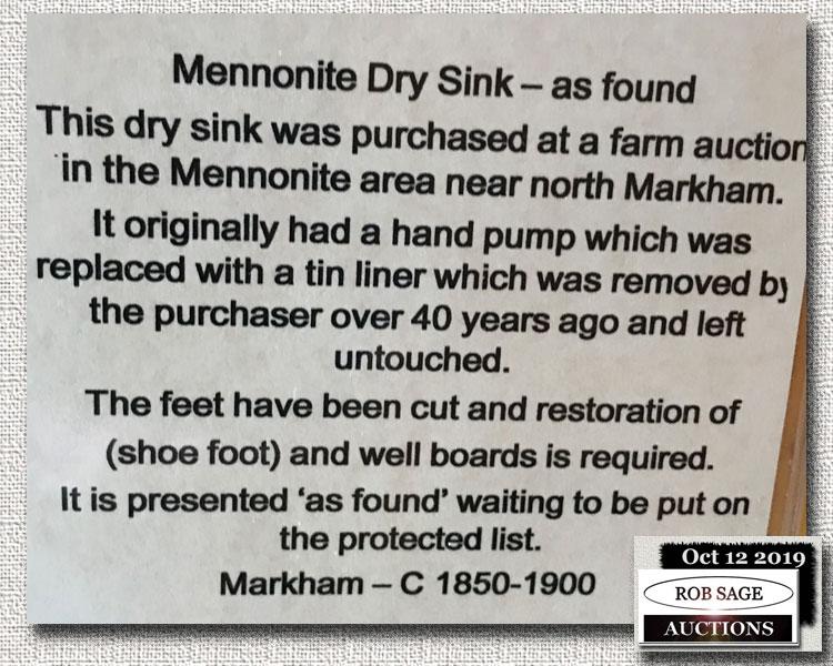 Dry Sink Details