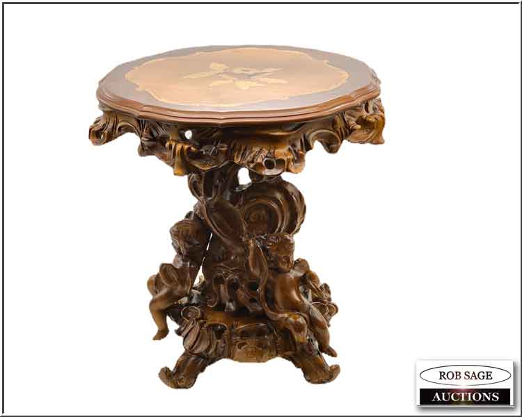Heavily Carved European Table